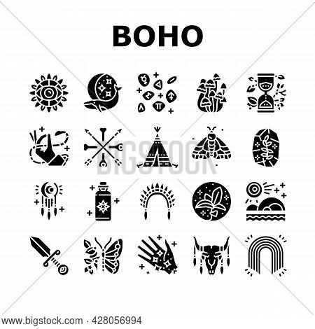 Boho Style Decoration Collection Icons Set Vector. Butterfly And Insect, Dreamcatcher And Stone, Mus