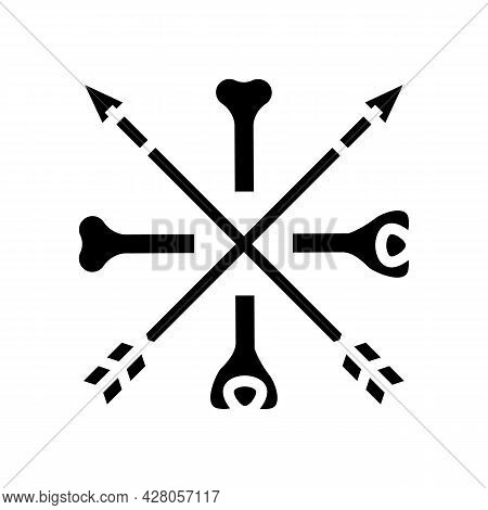 Bones And Arrows Boho Glyph Icon Vector. Bones And Arrows Boho Sign. Isolated Contour Symbol Black I