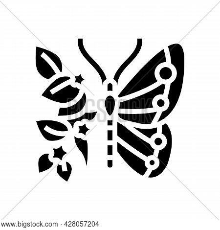 Butterfly Boho Glyph Icon Vector. Butterfly Boho Sign. Isolated Contour Symbol Black Illustration