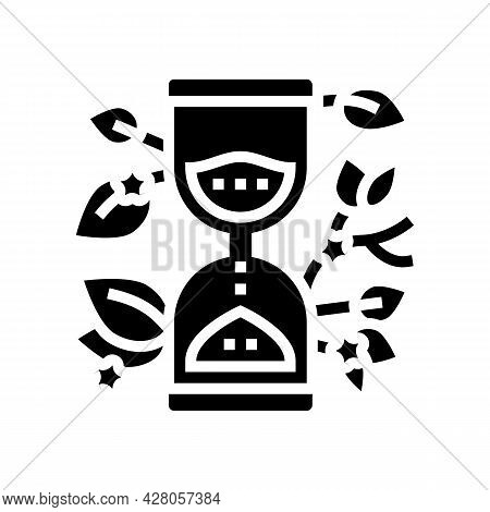 Hourglass With Plant Boho Glyph Icon Vector. Hourglass With Plant Boho Sign. Isolated Contour Symbol
