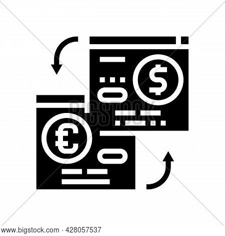 Opening Savings Accounts In Foreign Currency Glyph Icon Vector. Opening Savings Accounts In Foreign
