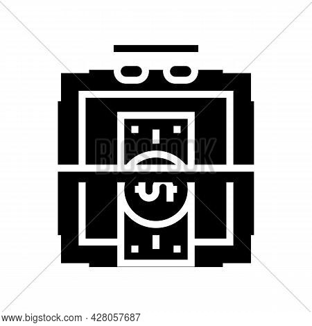 Verification Of Banknotes For Authenticity Glyph Icon Vector. Verification Of Banknotes For Authenti