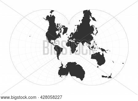 Map Of The World. Eisenlohr Conformal Projection. Globe With Latitude And Longitude Net. World Map O