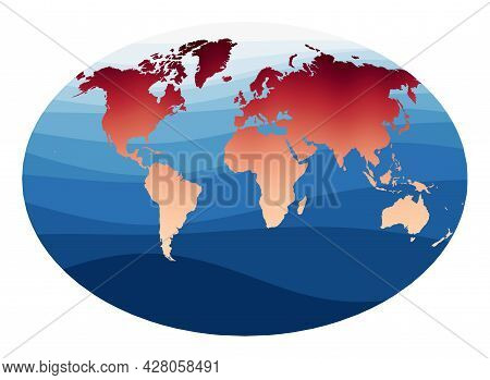 World Map Vector. Fahey Pseudocylindrical Projection. World In Red Orange Gradient On Deep Blue Ocea