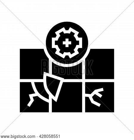 Tile Repair Glyph Icon Vector. Tile Repair Sign. Isolated Contour Symbol Black Illustration