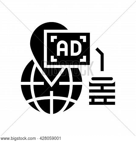 Location Advertising Glyph Icon Vector. Location Advertising Sign. Isolated Contour Symbol Black Ill