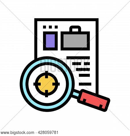 Researching Cv Or Business Case Color Icon Vector. Researching Cv Or Business Case Sign. Isolated Sy