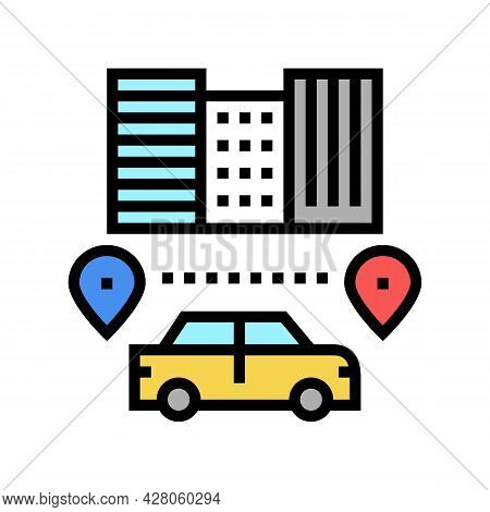 Routes Driving School Color Icon Vector. Routes Driving School Sign. Isolated Symbol Illustration