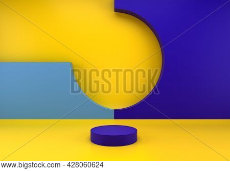 Background 3d Blue Rendering With Podium And Minimal Blue Wall Scene, Minimal Abstract Background 3d