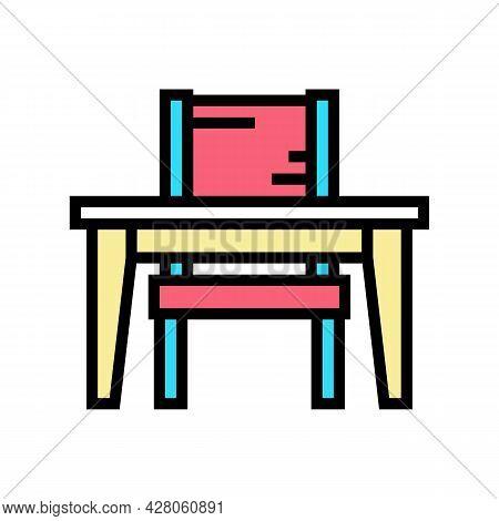 Studying Kindergarten Color Icon Vector. Studying Kindergarten Sign. Isolated Symbol Illustration