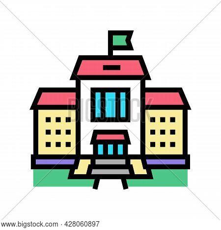 Building Kindergarten Color Icon Vector. Building Kindergarten Sign. Isolated Symbol Illustration