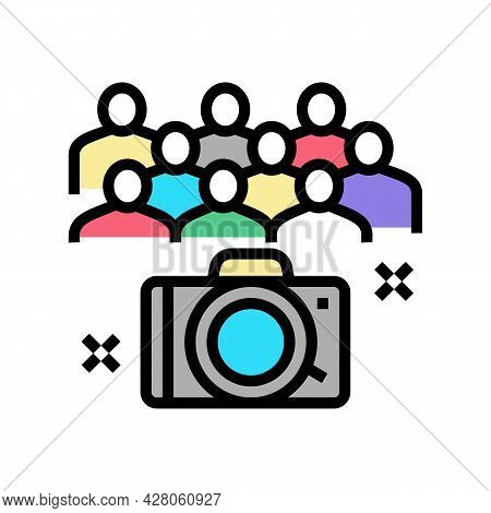 Collective Photography Kindergarten Color Icon Vector. Collective Photography Kindergarten Sign. Iso