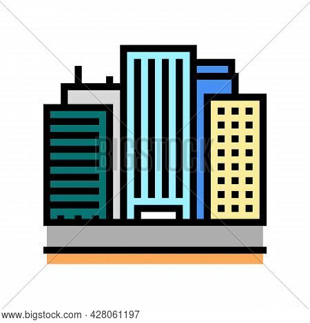 Land Of High Rise Buildings Color Icon Vector. Land Of High Rise Buildings Sign. Isolated Symbol Ill
