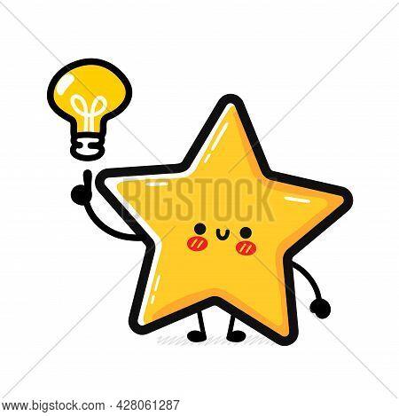 Cute Funny Happy Star Sign Character. Vector Hand Drawn Cartoon Kawaii Character Illustration Icon.