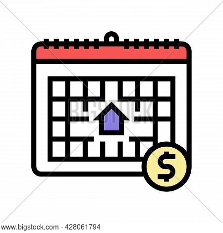 Monthly Fee Color Icon Vector. Monthly Fee Sign. Isolated Symbol Illustration