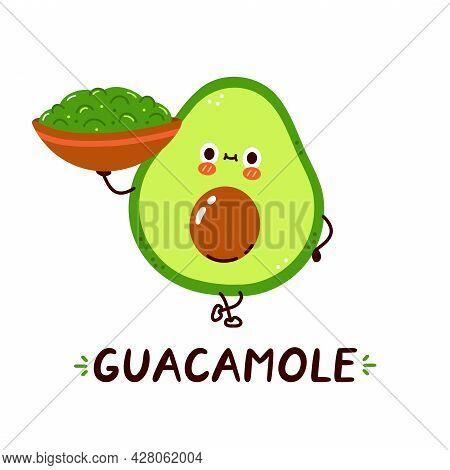 Cute Happy Avocado Hold Guacamole Sauce Bowl Character. Vector Hand Drawn Cartoon Kawaii Character I