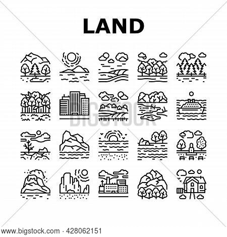 Land Scape Nature Collection Icons Set Vector. Desert And Forest, Meadow And Industrial Metropolis,