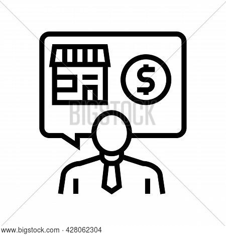 Businessman Buying Or Selling Shop Line Icon Vector. Businessman Buying Or Selling Shop Sign. Isolat