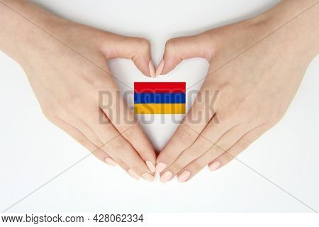 Women's Hands Create A Heart Inside The Flag Of Armenia On A White Background.background, Articles F