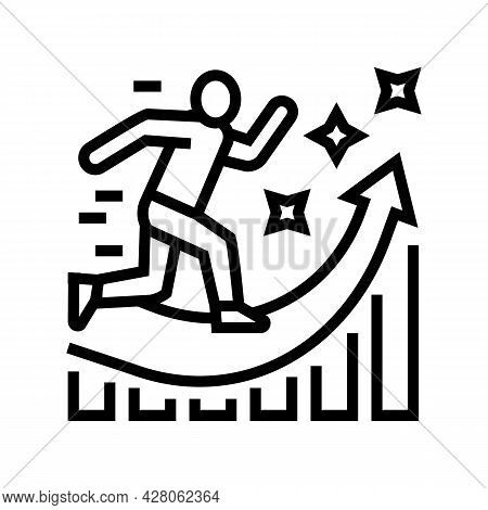 Manager Running And Working For Increase Profit Line Icon Vector. Manager Running And Working For In