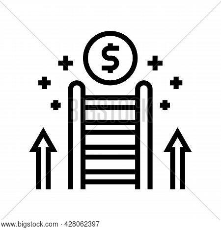 Career Ladder Line Icon Vector. Career Ladder Sign. Isolated Contour Symbol Black Illustration