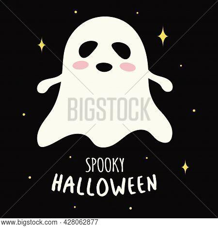 Cute White Ghost On Dark Background, Halloween Card With Cartoon Spirit, Vector Illustration