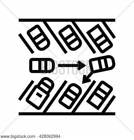 Diagonal Parking Line Icon Vector. Diagonal Parking Sign. Isolated Contour Symbol Black Illustration