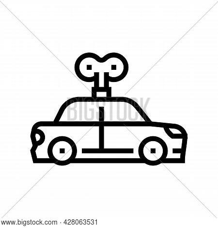 Car Toy Kindergarten Line Icon Vector. Car Toy Kindergarten Sign. Isolated Contour Symbol Black Illu