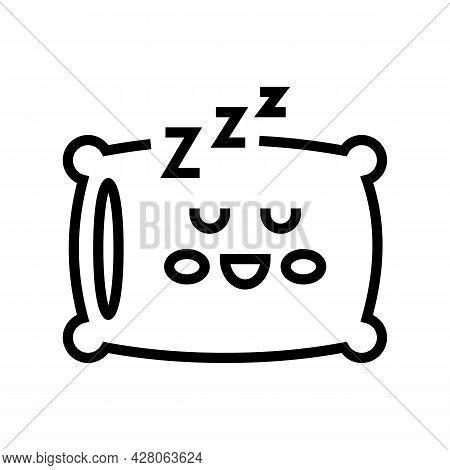 Sleeping Time Kindergarten Line Icon Vector. Sleeping Time Kindergarten Sign. Isolated Contour Symbo