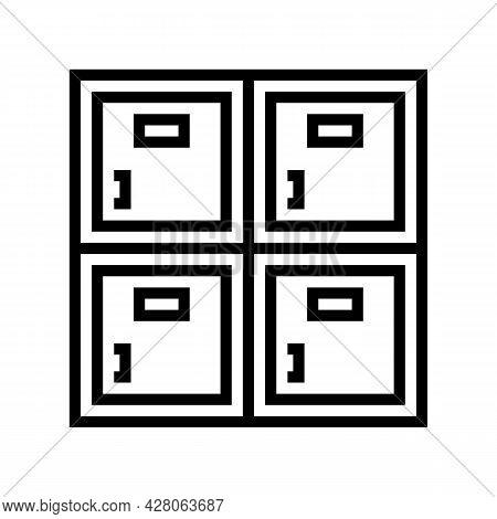 Lockers Kindergarten Line Icon Vector. Lockers Kindergarten Sign. Isolated Contour Symbol Black Illu