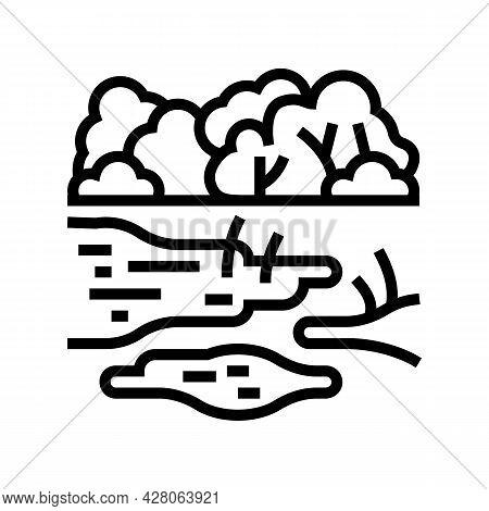 Rainforest Land Line Icon Vector. Rainforest Land Sign. Isolated Contour Symbol Black Illustration