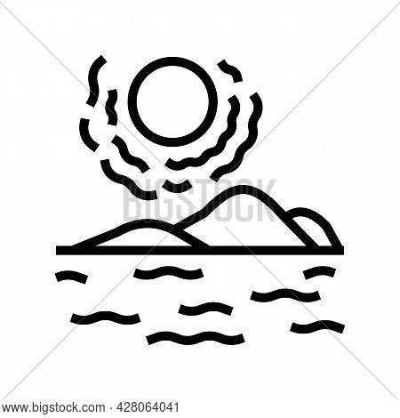 Desert Land Line Icon Vector. Desert Land Sign. Isolated Contour Symbol Black Illustration