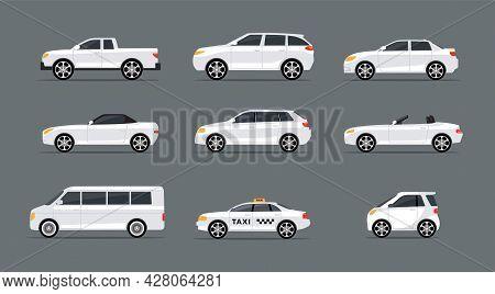 Car Side View Profile Vector Icon Modern Sedan Bus. Vector Car Side View Icon Set