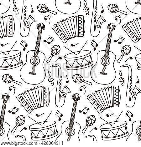 Black And White Seamless Pattern With With Sheet Music And Musical Instruments. Linear Vector Illust