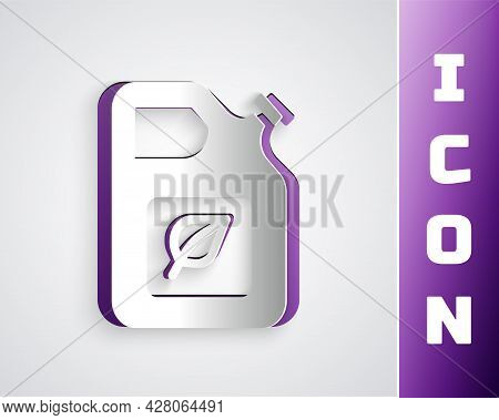 Paper Cut Bio Fuel Canister Icon Isolated On Grey Background. Eco Bio And Barrel. Green Environment