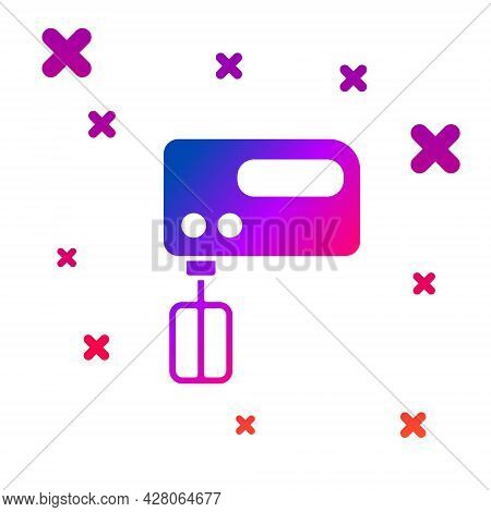 Color Electric Mixer Icon Isolated On White Background. Kitchen Blender. Gradient Random Dynamic Sha