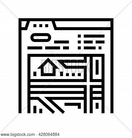 Location Of Area Line Icon Vector. Location Of Area Sign. Isolated Contour Symbol Black Illustration