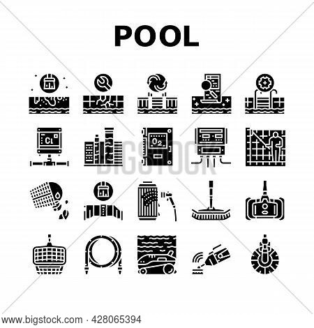 Pool Cleaning Service Collection Icons Set Vector. Pool Cleaning Electronic Robot With Vacuum Brush