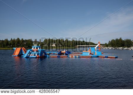 Water Amusement Park In The City Center Of Oulu On A Beautiful Summer Day