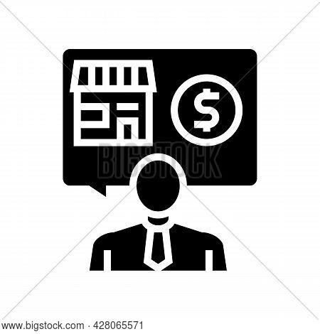 Businessman Buying Or Selling Shop Glyph Icon Vector. Businessman Buying Or Selling Shop Sign. Isola
