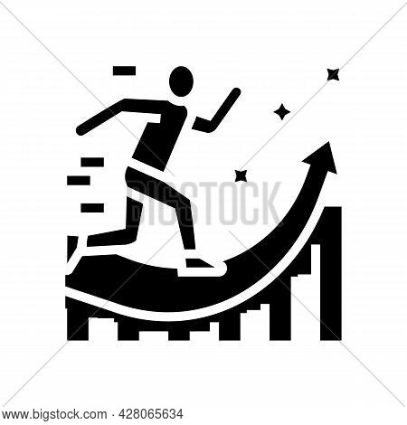 Manager Running And Working For Increase Profit Glyph Icon Vector. Manager Running And Working For I