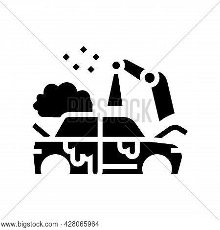 Factory Auto Paint Job Glyph Icon Vector. Factory Auto Paint Job Sign. Isolated Contour Symbol Black