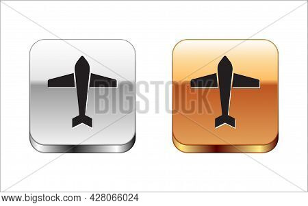 Black Jet Fighter Icon Isolated On White Background. Military Aircraft. Silver-gold Square Button. V