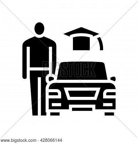 Driving Lessons For Adults Glyph Icon Vector. Driving Lessons For Adults Sign. Isolated Contour Symb