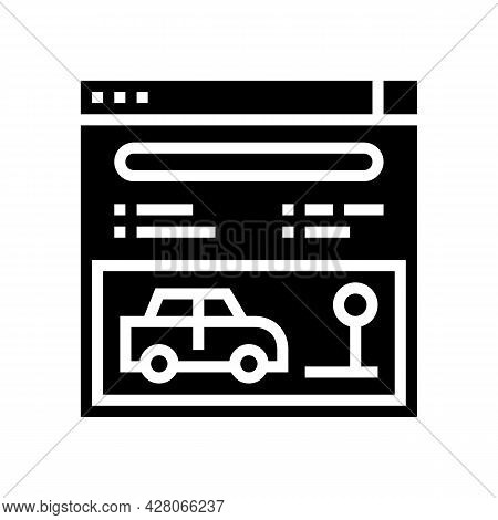 Online Driving School Lesson Glyph Icon Vector. Online Driving School Lesson Sign. Isolated Contour