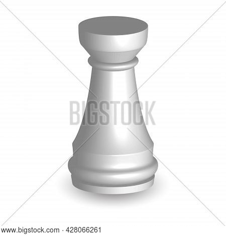 White Chess Piece Rook 3d On White Background. Board Game Chess. Chess Piece  3d Render.vector Illus