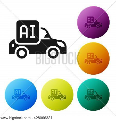 Black Autonomous Artificial Intelligence Smart Car Icon Isolated On White Background. Set Icons In C