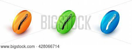 Isometric Police Shotgun Icon Isolated On White Background. Hunting Shotgun. Circle Button. Vector
