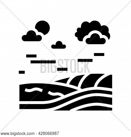 Meadow Land Glyph Icon Vector. Meadow Land Sign. Isolated Contour Symbol Black Illustration