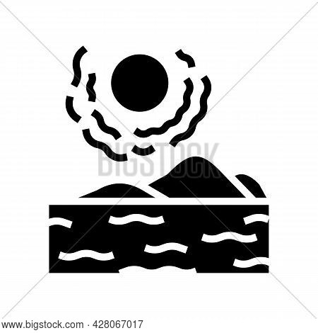 Desert Land Glyph Icon Vector. Desert Land Sign. Isolated Contour Symbol Black Illustration